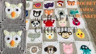 Crochet Owl/Crochet Blanket Pattern/ Crochet Animal Blanket/Part:20
