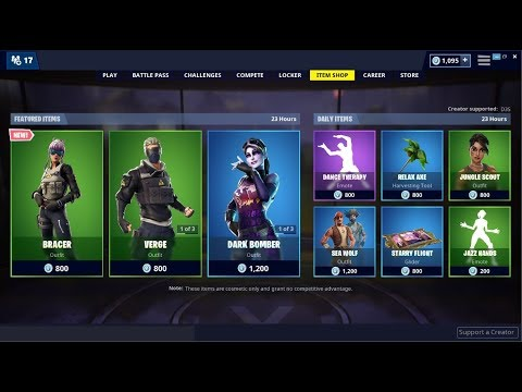 NEW*Bracer Skin & Dark Bomber Back! Fortnite Item Shop May 15, 2019