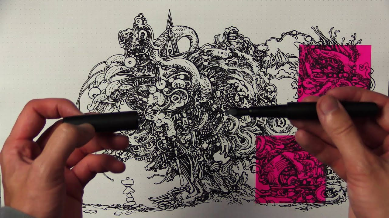 doodle drawing using pink sticky notes by peter