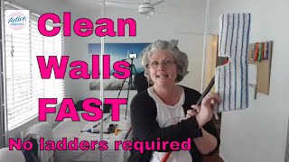 Clean Walls Quickly and Easily with a Flat Mop - No Ladder needed