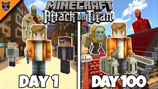 I Survived 100 Days in Minecraft ATTACK ON TITAN & here's what happened...
