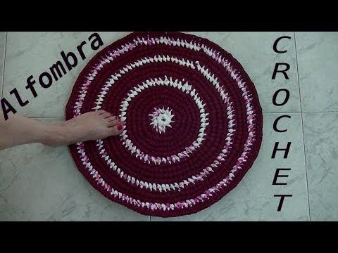 Como tejer una Alfombra a crochet con totora o trapillo tutorial paso a paso.
