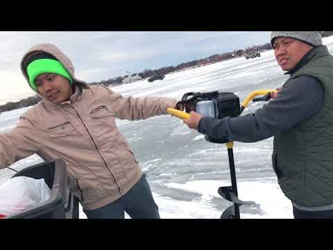 Hmong ice fishing lake Winnebago 2/17/18