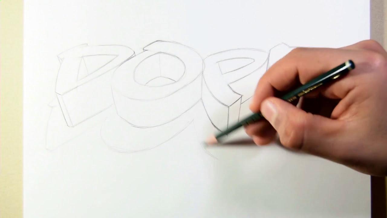 3d drawing tutorial paper art graffiti by adam sb