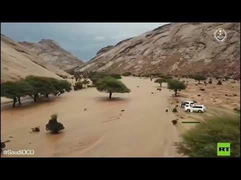 العرب اليوم - شاهد: سيول الأودية جراء هطول الأمطار الغزيرة في السعودية