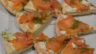 So EASY Chilled Smoked Salmon Pizza Appetizer with Fresh Garden Dill & Boursin Cheese