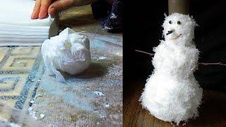 Снеговик из салфеток. Проще простого!  Snowman handcraft