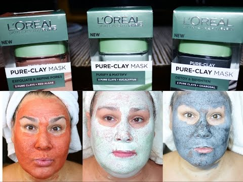 Loreal Pure Clay Masks | All 3 Compared | Red Algae, Eucalyptus & Charcoal | Demo & Review