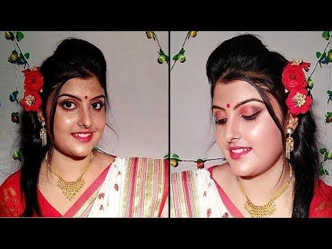 Durga Puja Makeup 2018 (অষ্টমীর সকাল) / Traditional Bengali Makeup