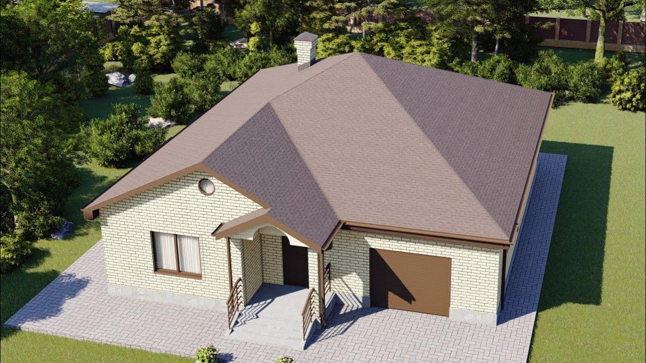 Одноэтажный проект дома с сауной и гаражом