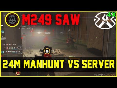 M249 SAW! 24Min Manhunt vs Server (The Division 1.6.1 PTS)
