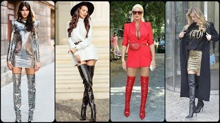 Latest Stylish Long Leather High Heel Boots Ideas