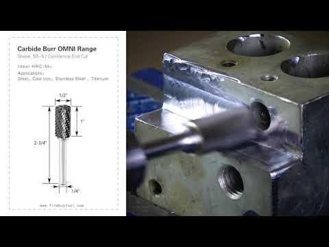 FindBuyTool Carbide Burr SB5 Cilíndrico End Cut OMNI Range Head D 1/2 x 1L, 1/4 Haste, 2-3 / 4 Polegada Comprimento Total