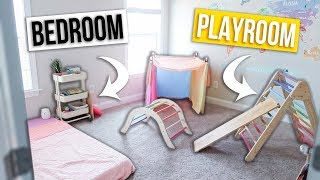 MINIMALIST KIDS BEDROOM & PLAYROOM TOUR! Free Movement Open Ended Playroom