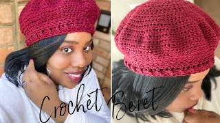 How To Crochet An Easy Beret Hat | Crochet Beginner Friendly Tutorial| Crochet Beret