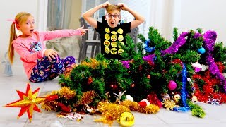 Кто Уронил Ёлку и Разбил ИГРУШКИ? Катя и Ростя ОБМАНУЛИ Маму! Kids Broke the Christmas Tree for Kids