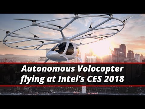 Autonomous Volocopter Flying At Intel's CES 2018