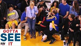 Болельщик Голден Стэйт толкнул и обматерил Кайла Лоури во время третьего матча финала НБА