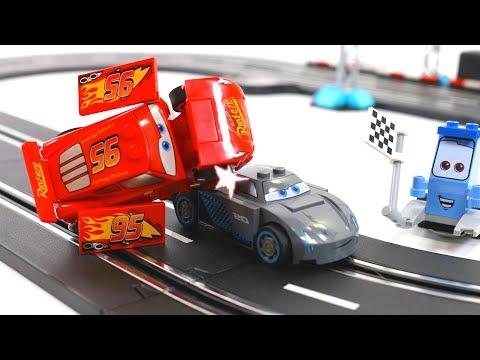 Disney cars3 toys Lightning McQueen vs. Jackson Storm Race battle - lego Stop motion movie for kids