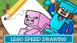 Speed Drawing - Coloring Pages / Disegni da Colorare - LEGO Minecraft - Steve & Piggy
