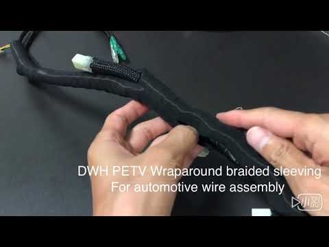 PETV Wraparound braided sleeving for automotive wire assembly