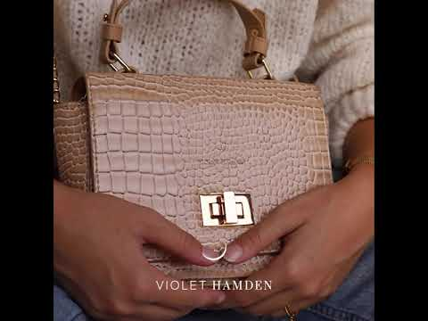 Violet Hamden Evening Star croco zwarte crossbody