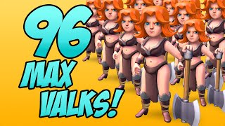 """96 MAX VALKYRIES!"" - Clash of Clans - All Maxed Out Troop Raids!"