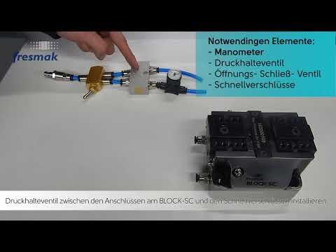 Installation von einem Doppelrückschlagventil an einem Kraftspannblock um den Druck zu erhalten