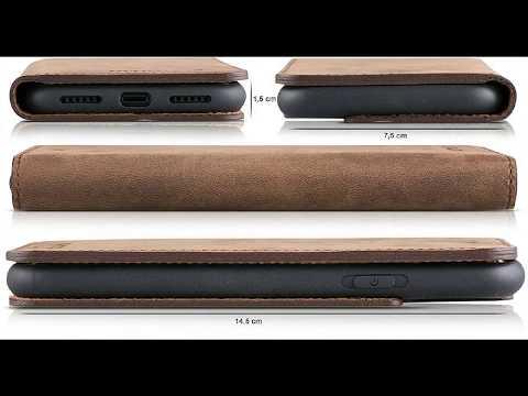 Blumax Apple iPhone X Handytasche echt Leder, integrierte Silikon Schutzhülle