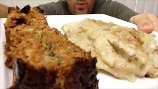 SILENT ASMR | MUKBANG | Eating Homemade Meatloaf & Scalloped Potatoes