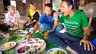 Thai Farm Food!! 3 HUGE VILLAGE MEALS - Unseen Thai + Lao Food on the Mekong River!!