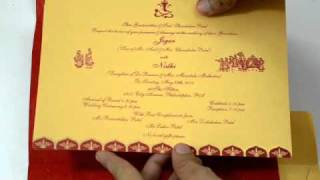 D-523, Red Color, Hindu Cards, Indian Wedding Invitations, Hindu Wedding Invitations, Wedding Cards