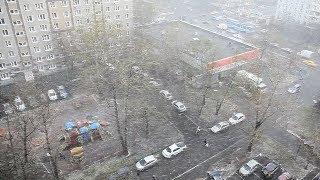 Сильный снегопад в Москве в день рождения Ленина   Апрель 2018