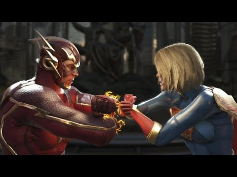 Injustice 2 : The Flash Vs Supergirl - All Intro/Outros, Clash Dialogues, Super Moves