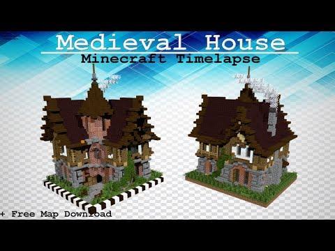 Mediveal Minecraft House Timelapse Speed Build Free Map - Minecraft mittelalter haus einrichtung