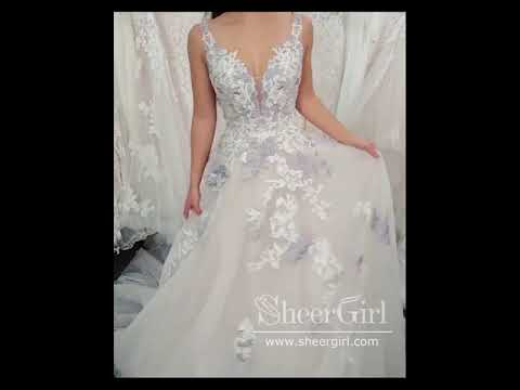 A Line Colorful Embroidery Bridal Dress with Sweetheart Neckline Corset Back Wedding Dress AWD1762
