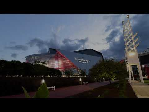 Time Lapse sunset over Mercedes-Benz Stadium
