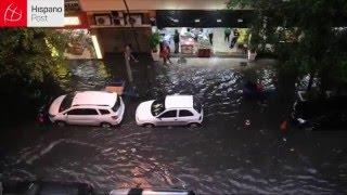 Copacabana se inunda tras fuertes lluvias