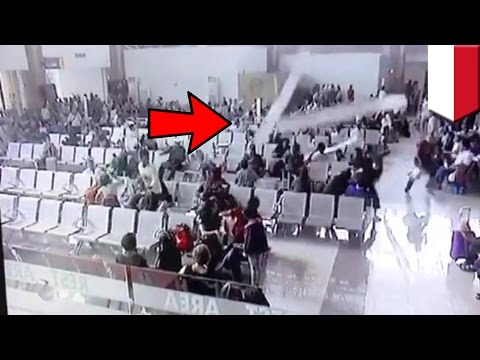 Video shows airport roof collapse on passengers, contractor blames the rain - TomoNews