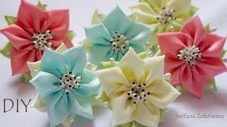 Маленькие цветочки из ленты на первые хвостики Светлана Золотарева