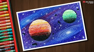Galaxy Drawing with Oil Pastels - step by step