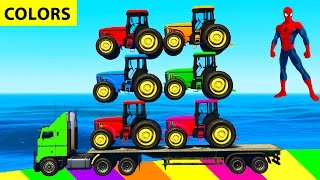 COLOR TRACTORS in Superheroes Cars Cartoon for Kids and Colors for Children w Nursery Rhymes Songs