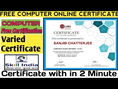 Skill India Free Certificate - Online Computer Course - YouTube