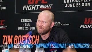 "Tim Boetsch on his stoppage of ""unprofessional"" Johny Hendricks"