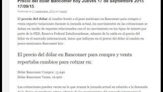 Precio del dolar Bancomer hoy Jueves 17 de Septiembre 2015 17/09/15