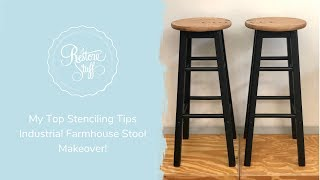 Tips For Stenciling Furniture - Industrial Farmhouse Stool Makeover