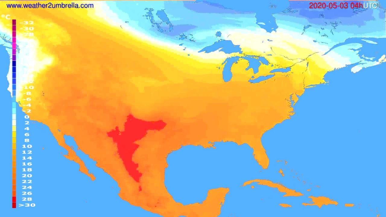 Temperature forecast USA & Canada // modelrun: 12h UTC 2020-05-02