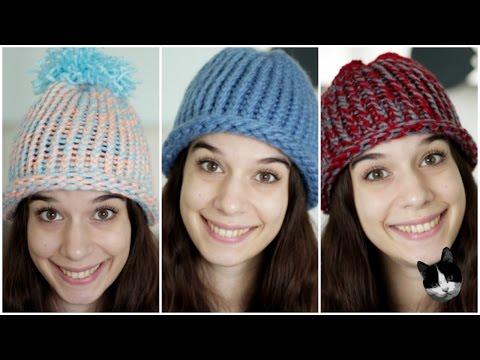 Cappellini di lana per adulti e bambini senza ferri
