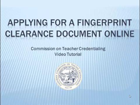 Applying for a Fingerprint Clearance Document Online - YouTube