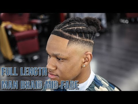 *FULL LENGTH* STEP BY STEP HAIRCUT TUTORIAL: BRAIDED MAN BUN STYLE MID FADE